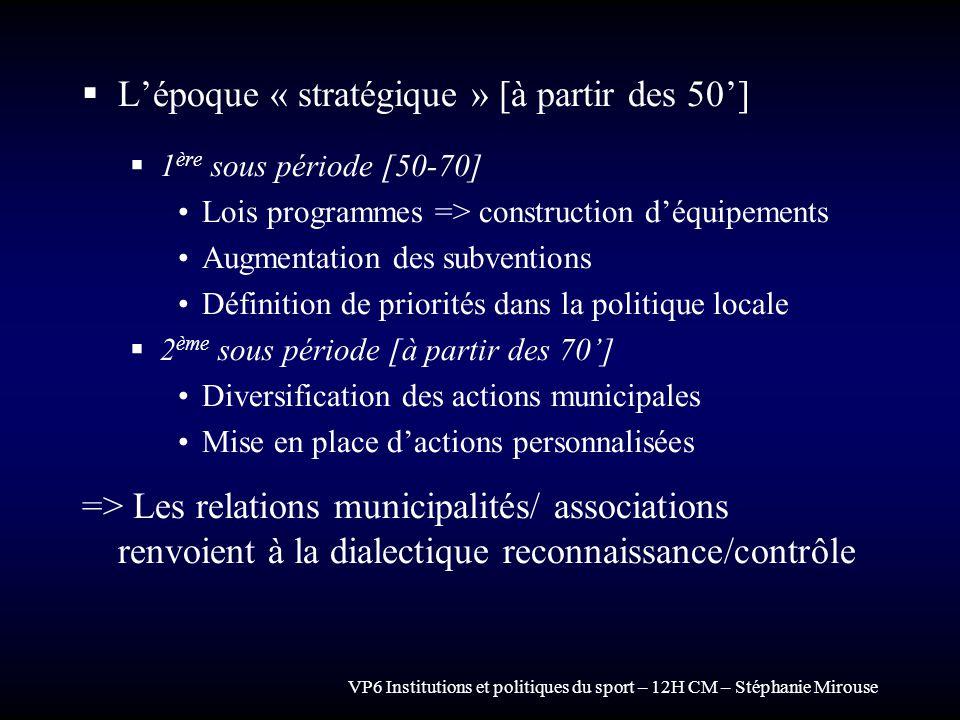 L'époque « stratégique » [à partir des 50']